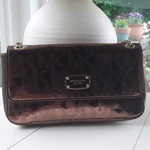 MICHAEL KORS SHOULDER PURSE ROSE WITH CHAIN